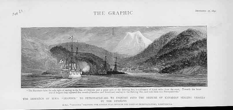 Print Hms Leander To Petropaulovski Re Canadian Seal Ships 48Ubbb1 Old Original
