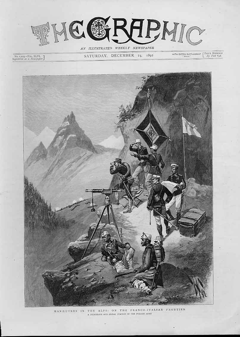 Print Italian Army Manoeuvres On Frontier France Itay 1892 58Bbb1 Old Original