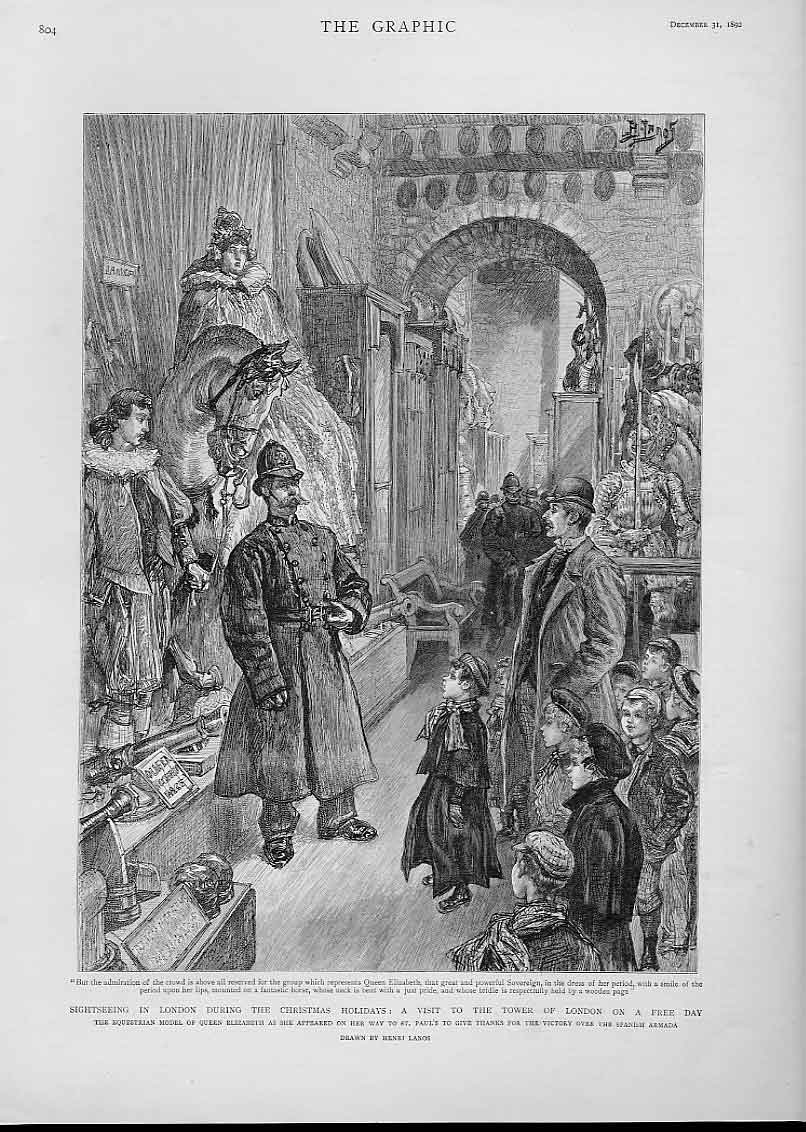 Print Sightseeing London Christmas Holidays 1892 Tower Free D 04Bbb1 Old Original