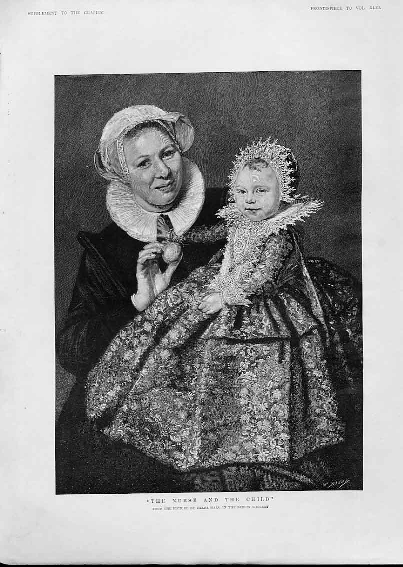 Print Nurse & Child By Hals Fine Art 1892 20Bbb1 Old Original