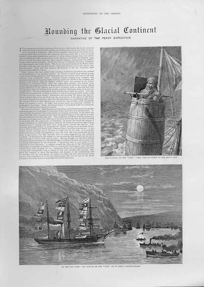 Print Rounding Glacial Continent 1892 Artic Journey 50Abbb1 Old Original