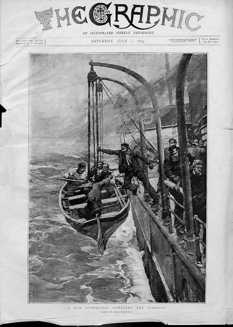 Print Man Overboard Lowering Lifeboat Fine Art Ship 02Bbb1 Old Original