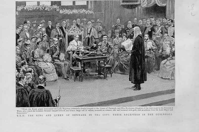 Print King Queen Denmark Guildhall Reception 1893 68Lbbb1 Old Original