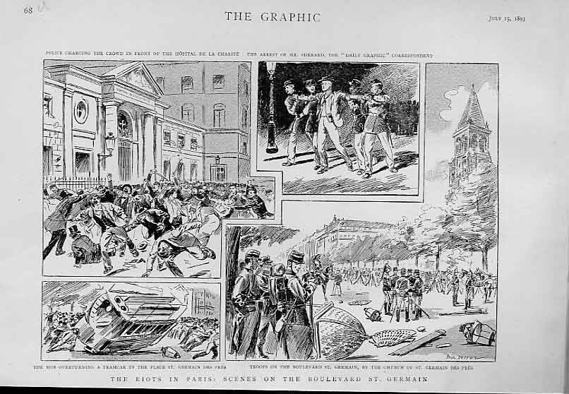 Print Riots Paris Boulvard St Germain 1893 France 68Ubbb1 Old Original
