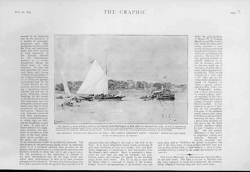 Print German Emperors Yacht Meteor At Kiel Regatta 1893 01Ubbb1 Old Original