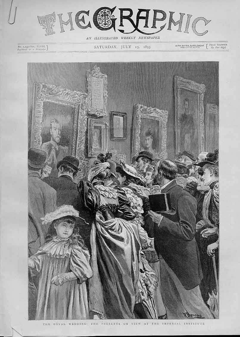 Print 1893 Royal Wedding Presents On View Imperial Institute 04Abbb1 Old Original