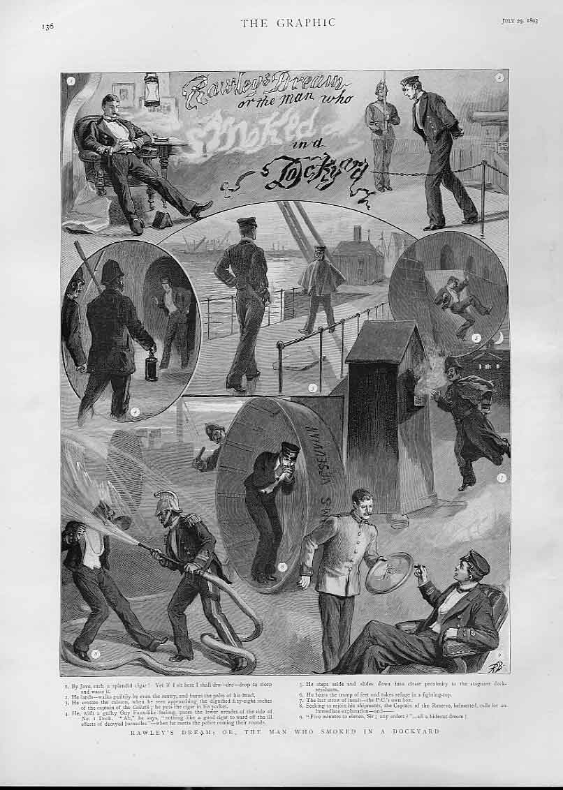 Print Dream The Man Who Smoked In Dockyard 1893 36Bbb1 Old Original