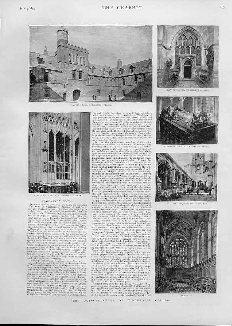 Print Winchester School & College 1893 49Bbb1 Old Original