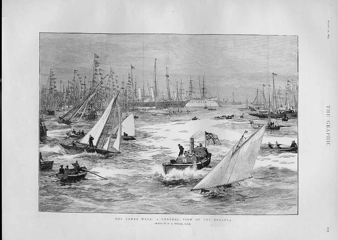 [Print General View Cowes During Regatta 1893 05Bbb1 Old Original]