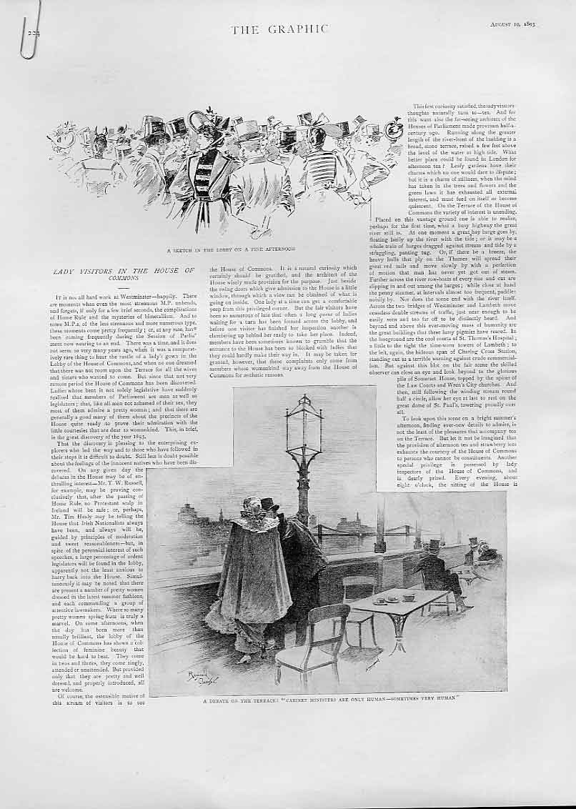 Print Lady Visitors House Commons 1893 24Abbb1 Old Original