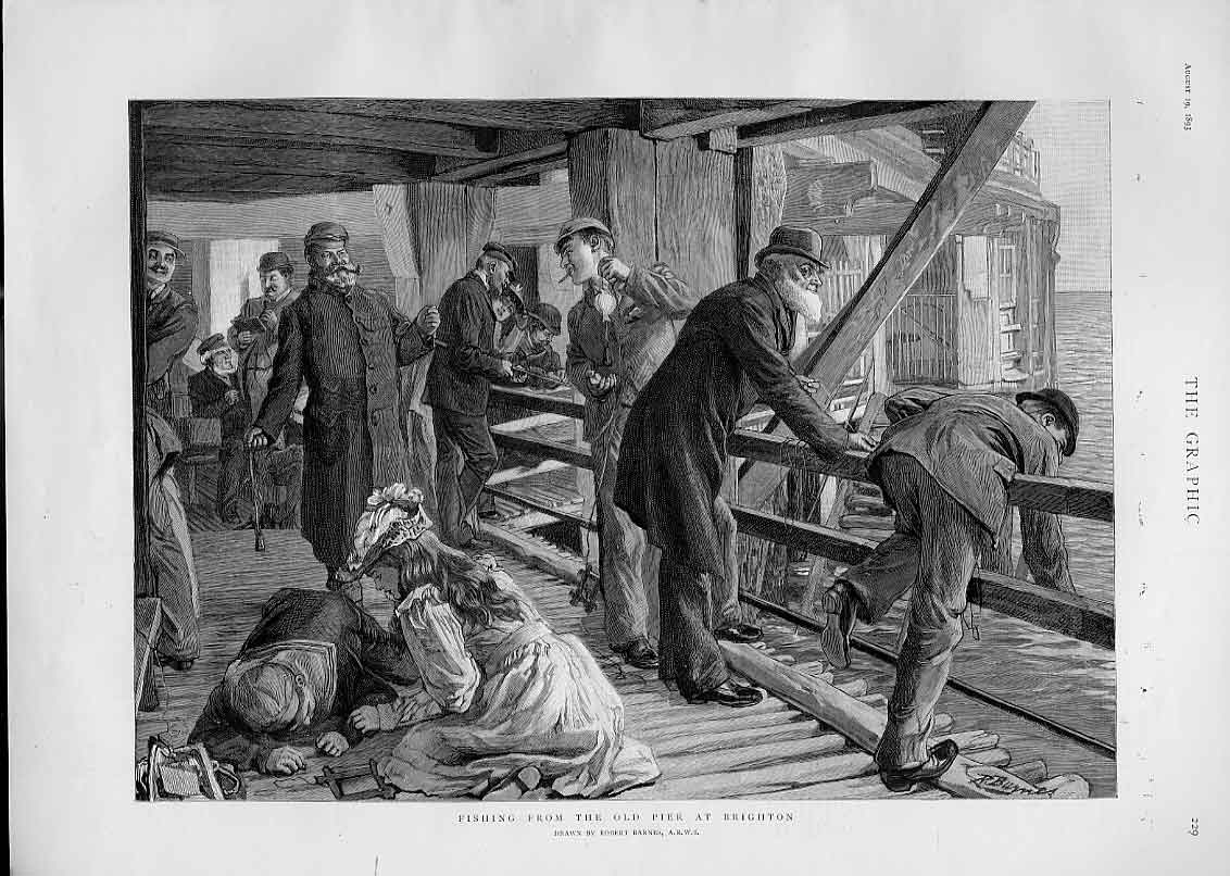 Print Fishing From Pier Brighton Fine Art 1893 29Bbb1 Old Original