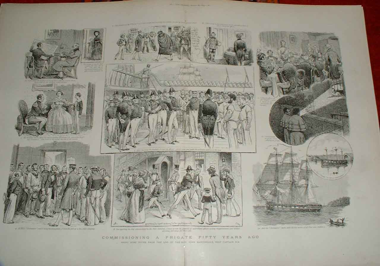 Print Commissioning A Frigate In 1843 Ships Navy 59Tbbb1 Old Original