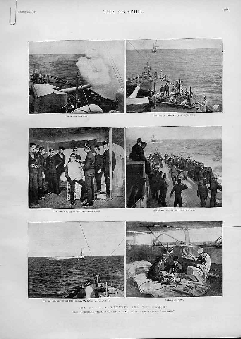 Print Camera At Naval Manoeuvres 1893 Ships 69Abbb1 Old Original