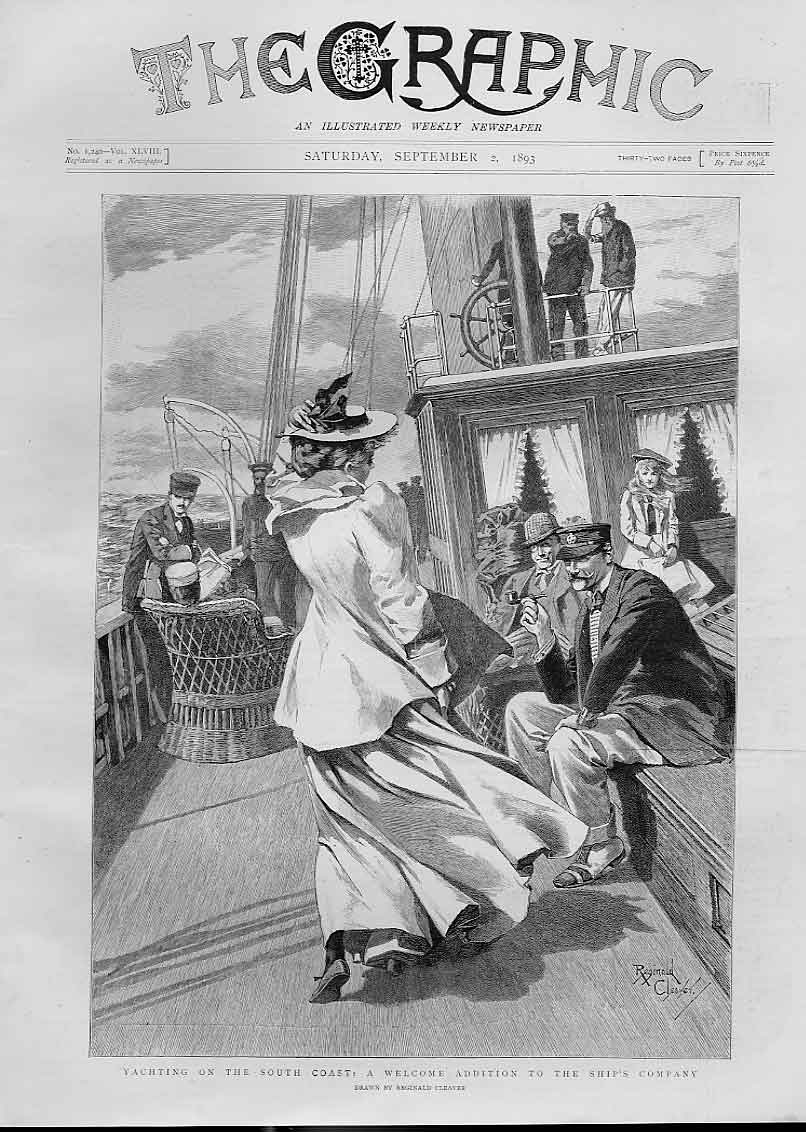 Print Welcome To Ships Company Yachting South Coast 1893 78Bbb1 Old Original