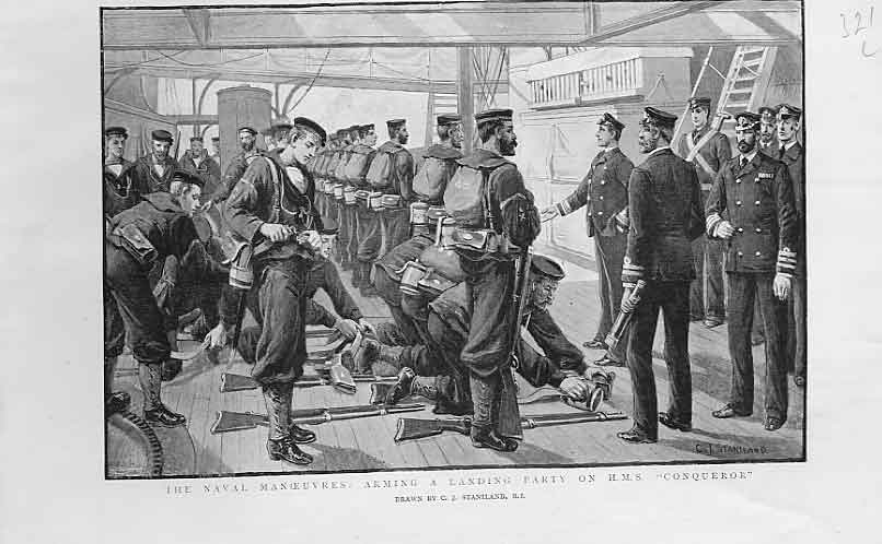 [Print Arming Landing Party On Hms Conqueror 1893 21Lbbb1 Old Original]