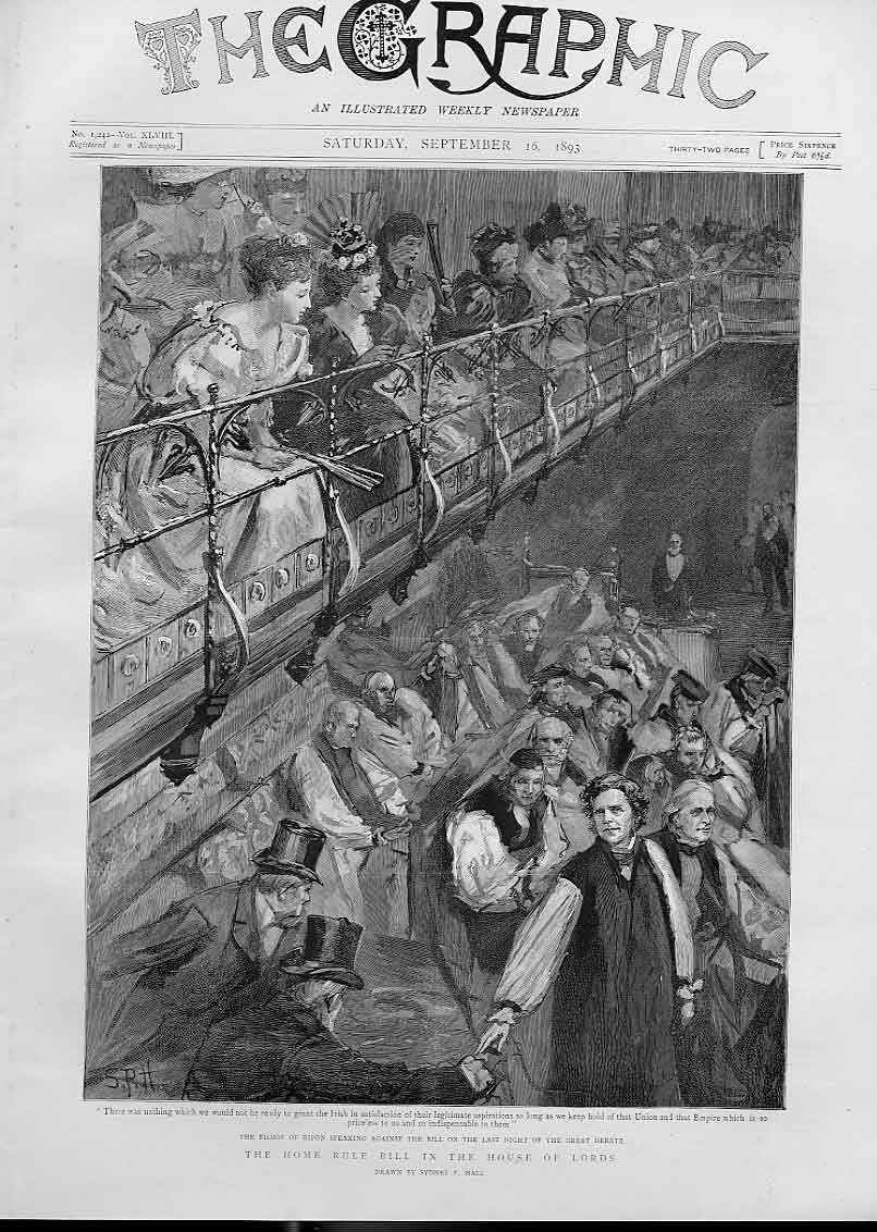 [Print Bishop Ripon Speaking Home Rule Bill In Lords 1893 42Bbb1 Old Original]