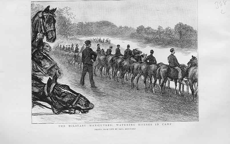 Print Watering Army Horses In Camp 1893 48Lbbb1 Old Original