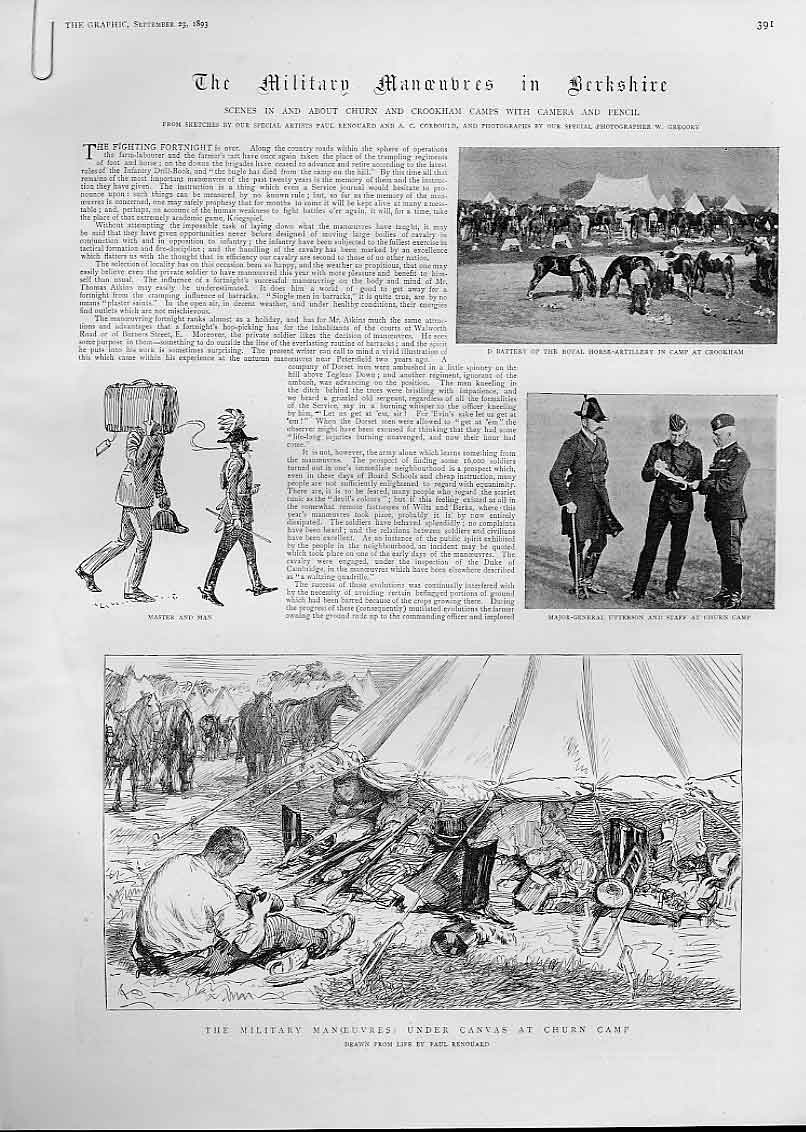 Print 1893 Army Churn & Crookham Camps Berkshire 91Abbb1 Old Original