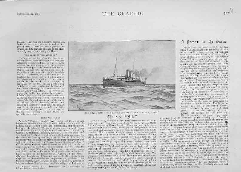 Print Royal Mail Steam Packet Nile Ships 1893 97Ubbb1 Old Original