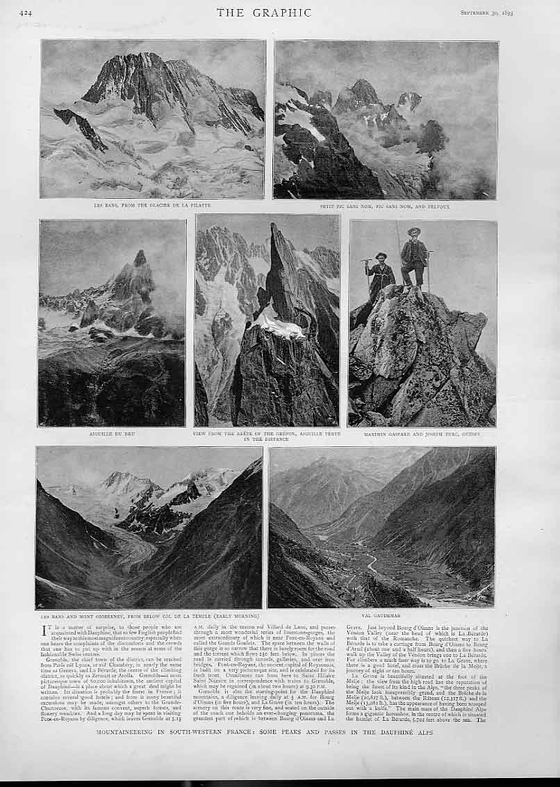 Print Mountaineering Peaks Dauphine Alps France 24Bbb1 Old Original