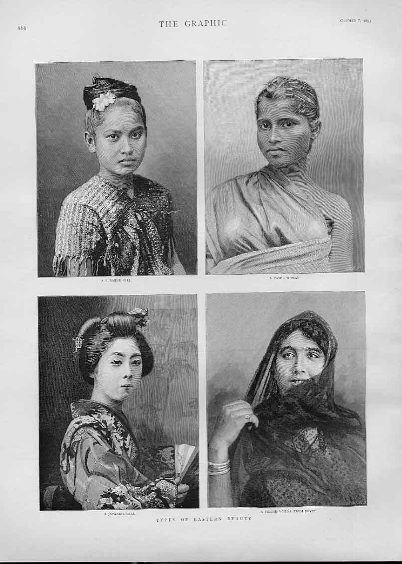 Print Types Eastern Beauty 1893 44Bbb1 Old Original