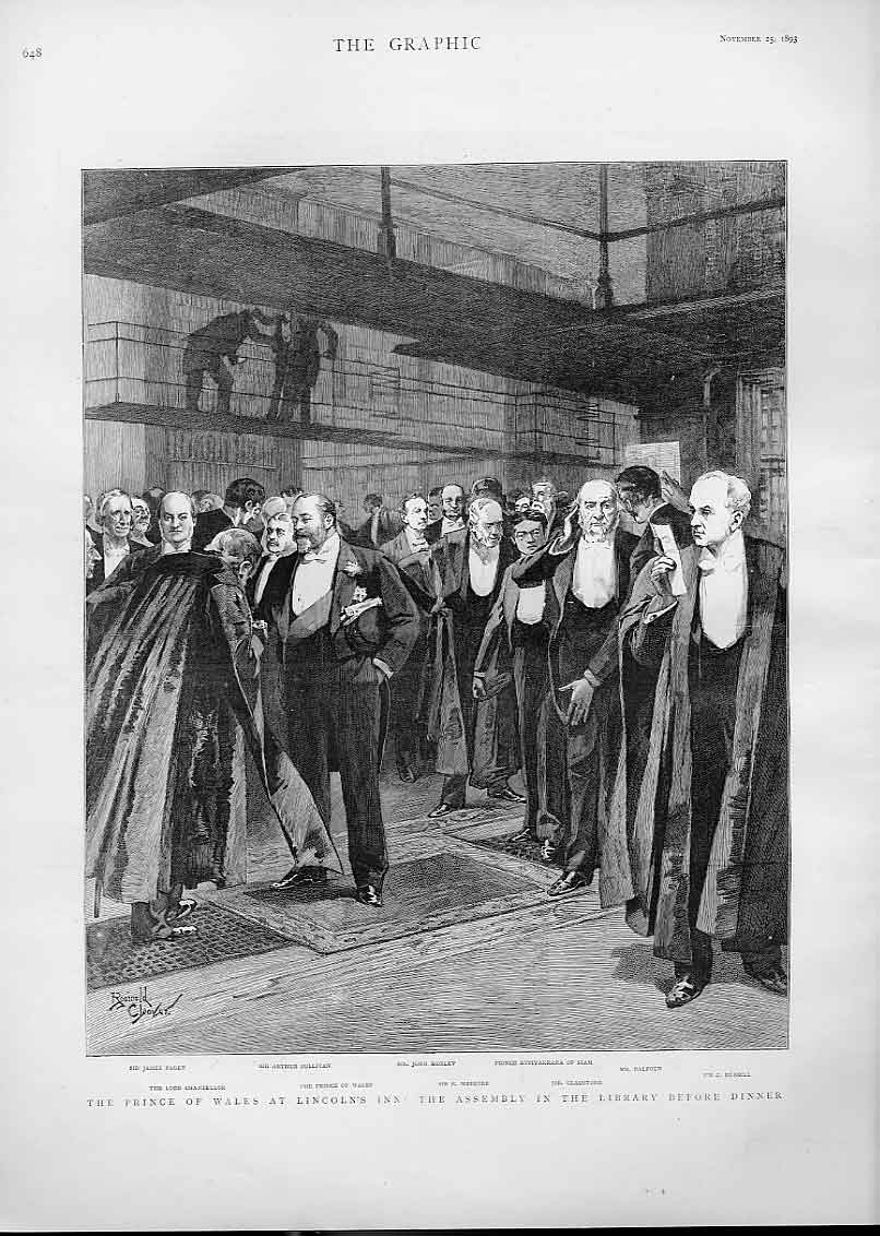 Print Prince Wales At Lincoln'S Inn Library Dinner 48Bbb1 Old Original