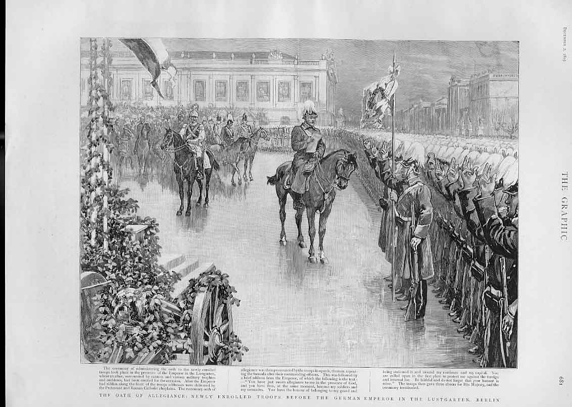 Print Troop Take Oath Before German Emperor Lustgarten Berlin 81Bbb1 Old Original