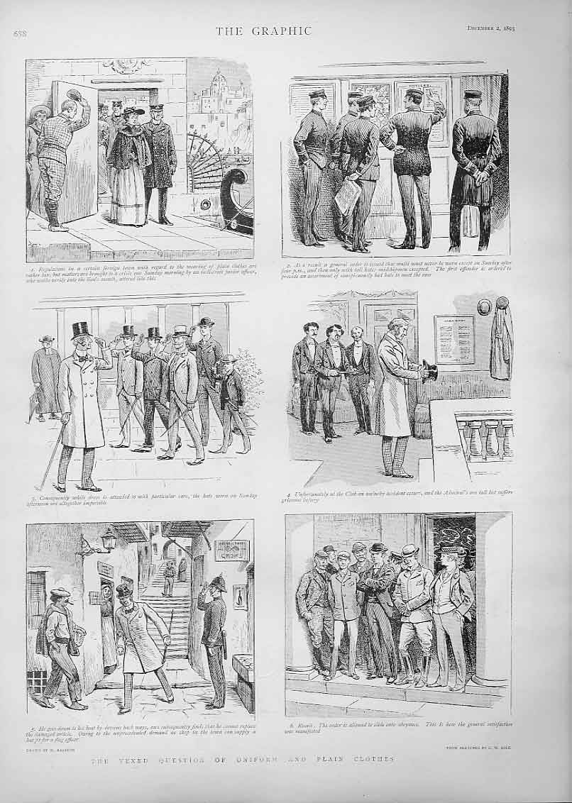 Print Plain Clothes T V Uniform 1893 Comic 88Bbb1 Old Original