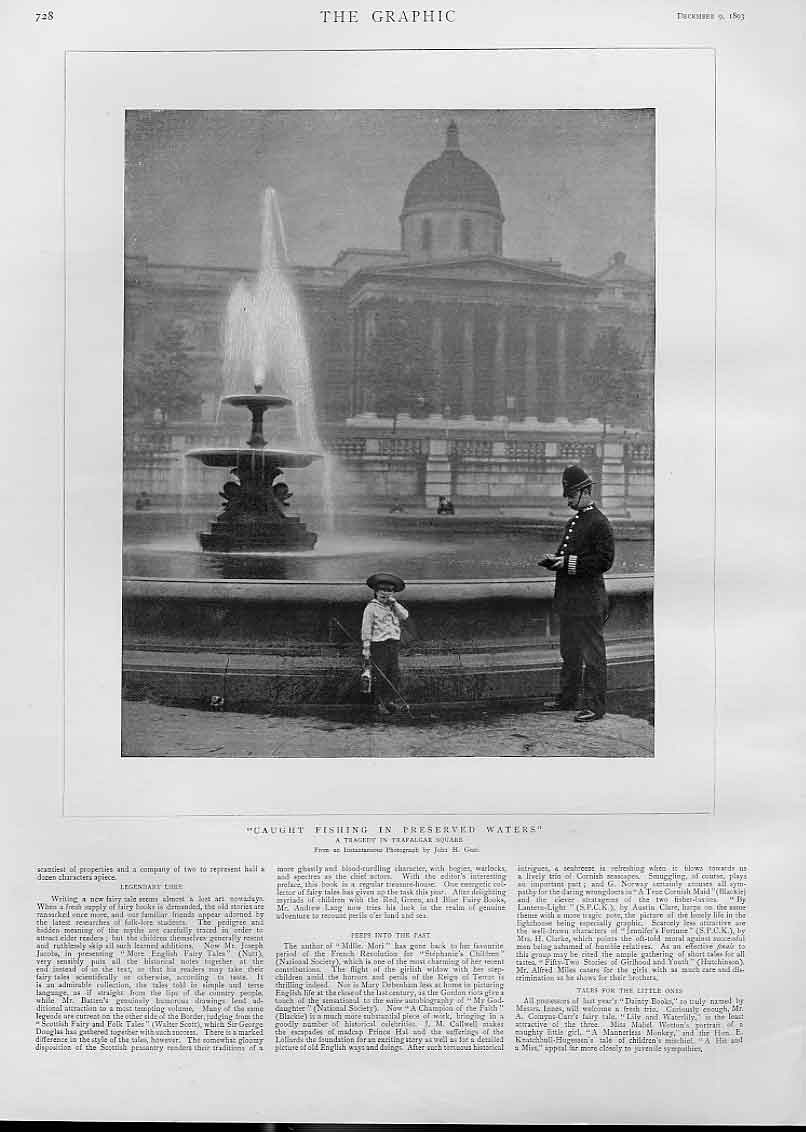 Print Boy Caught Fishing Preserved Waters Trafalgar Sq 1893 28Bbb1 Old Original