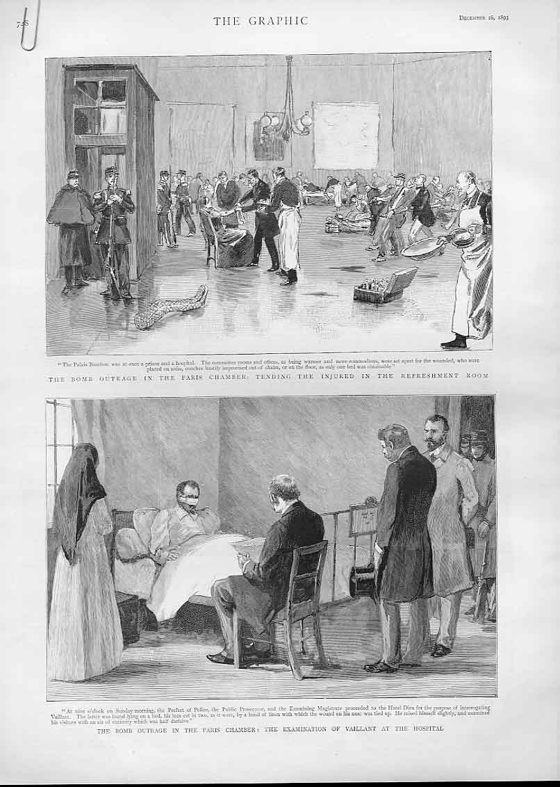 Print Tending Wounded After Bomb Paris Chamber France 1893 48Abbb1 Old Original