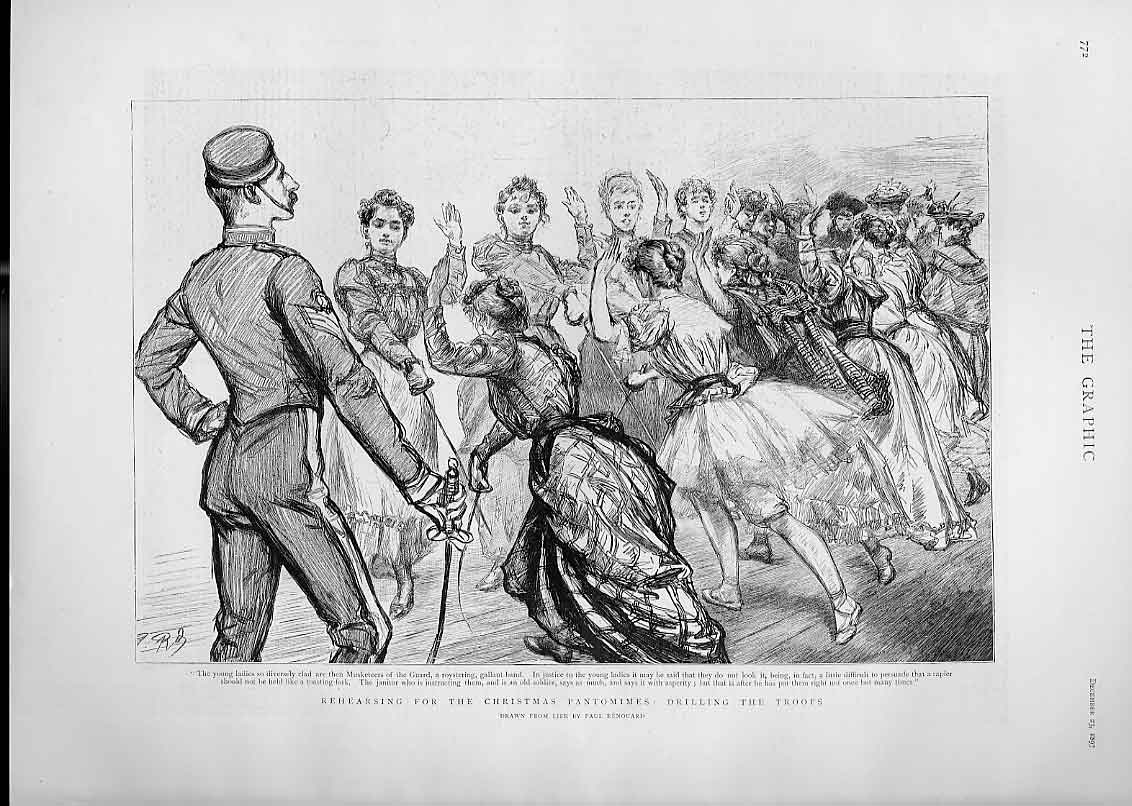 Print Rehearsing Christmas Pantomine Drilling The Troops 1893 72Bbb1 Old Original