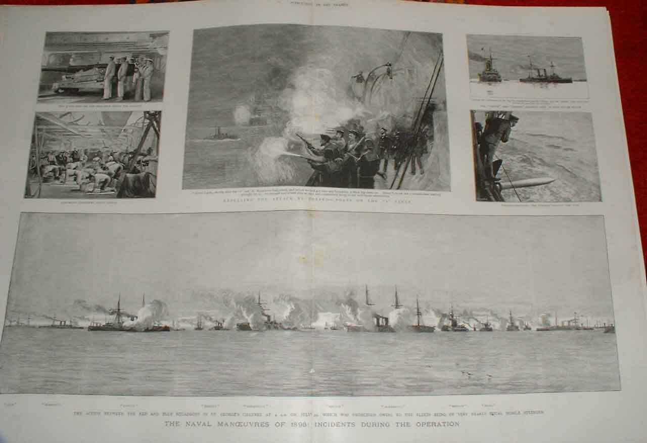 Print Royal Navy Ships 1893 Manoeuvres With Torpedoes 05Tbbb1 Old Original