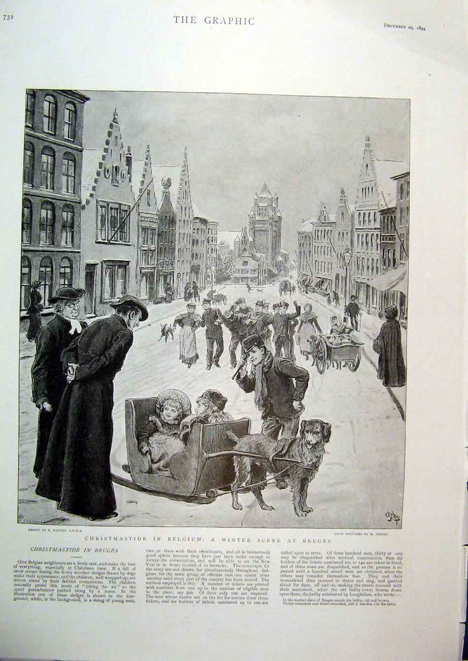 Print Christmas In Belgium Scene Bruges 1894 32Bbb1 Old Original