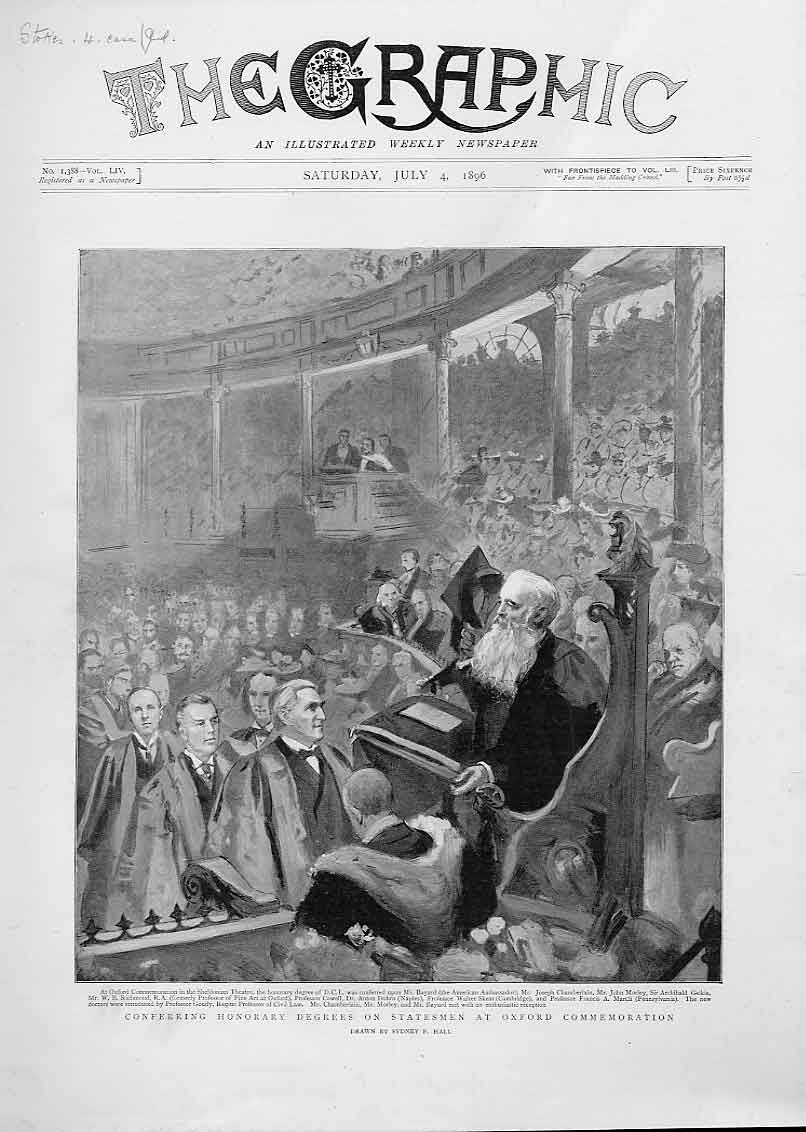 Print Conferring Honary Degrees On Statesmen Oxford 1896 02Bbb1 Old Original