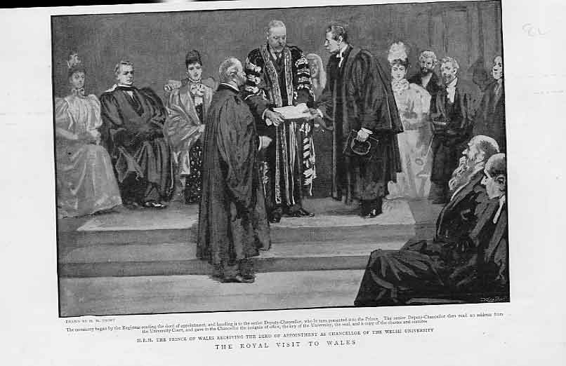 Print Prince Wales As Chancellow Welsh University 1896 08Lbbb1 Old Original