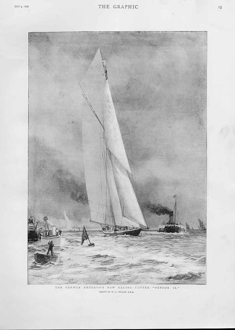 Print German Emperors New Racing Cutter Metror Ii 1896 13Bbb1 Old Original