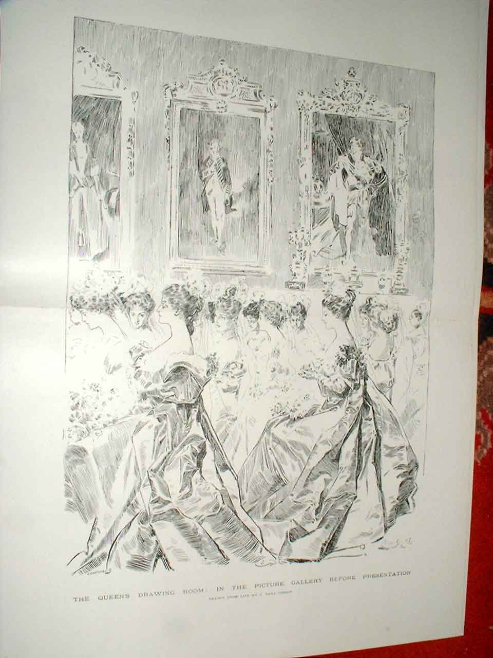 Print Queens Drawing Room Buckingham Palace 1896 15Tbbb1 Old Original
