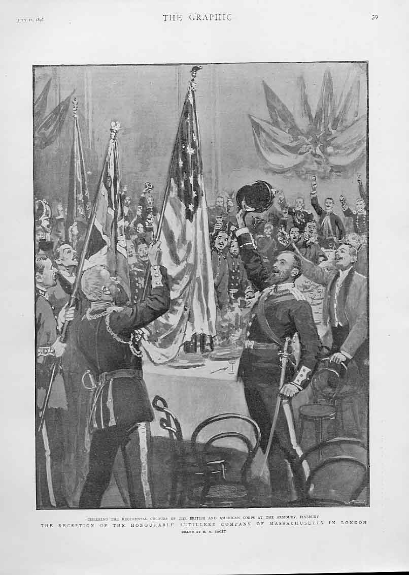 Print Reception Hon Artillery Company Massachusetts 1896 39Bbb1 Old Original