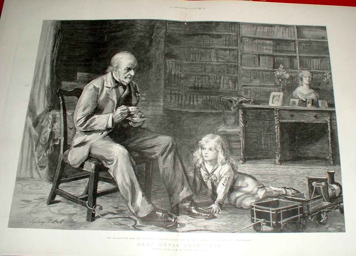 Print Gladstone With Grandson Deiniol Gladstone At Hawarden 79Tbbb1 Old Original