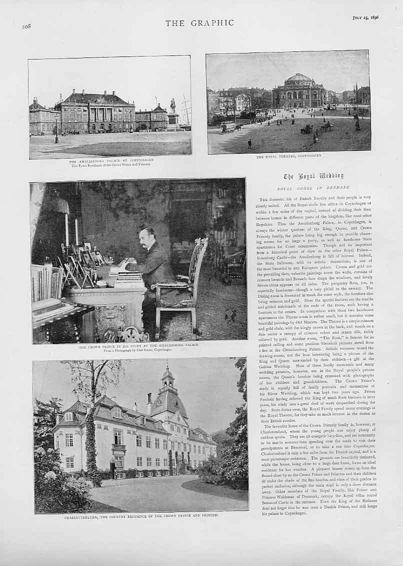Print Amalienborg Palace Royal Homes Denmark 08Bbb1 Old Original
