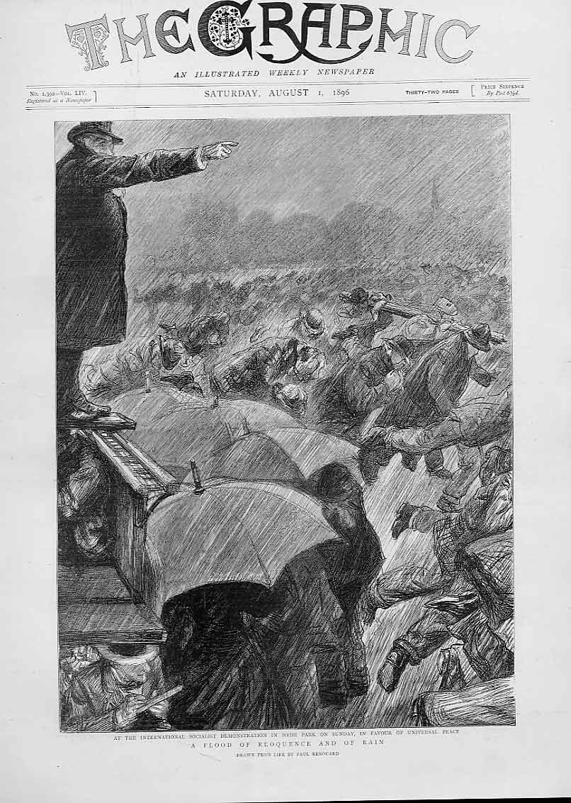 Print Socalist Demo In Rain Hyde Park 1896 30Bbb1 Old Original