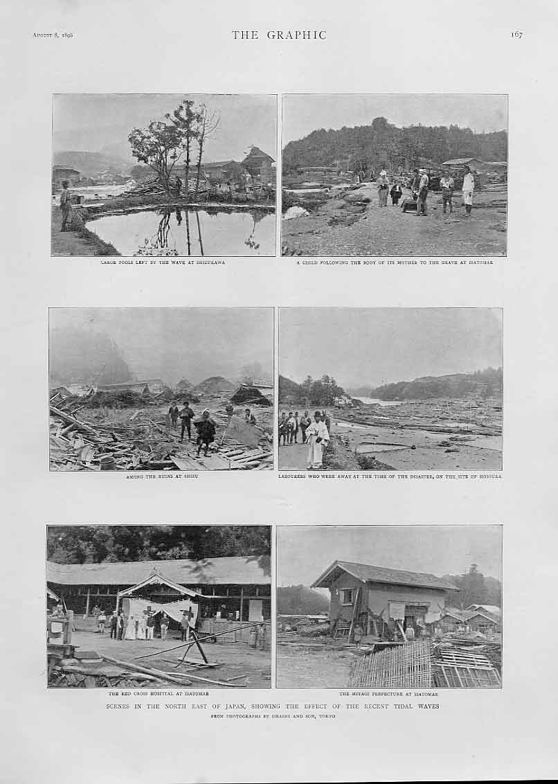 Print Effect Tidal Wave N E Japan 1896 67Bbb1 Old Original