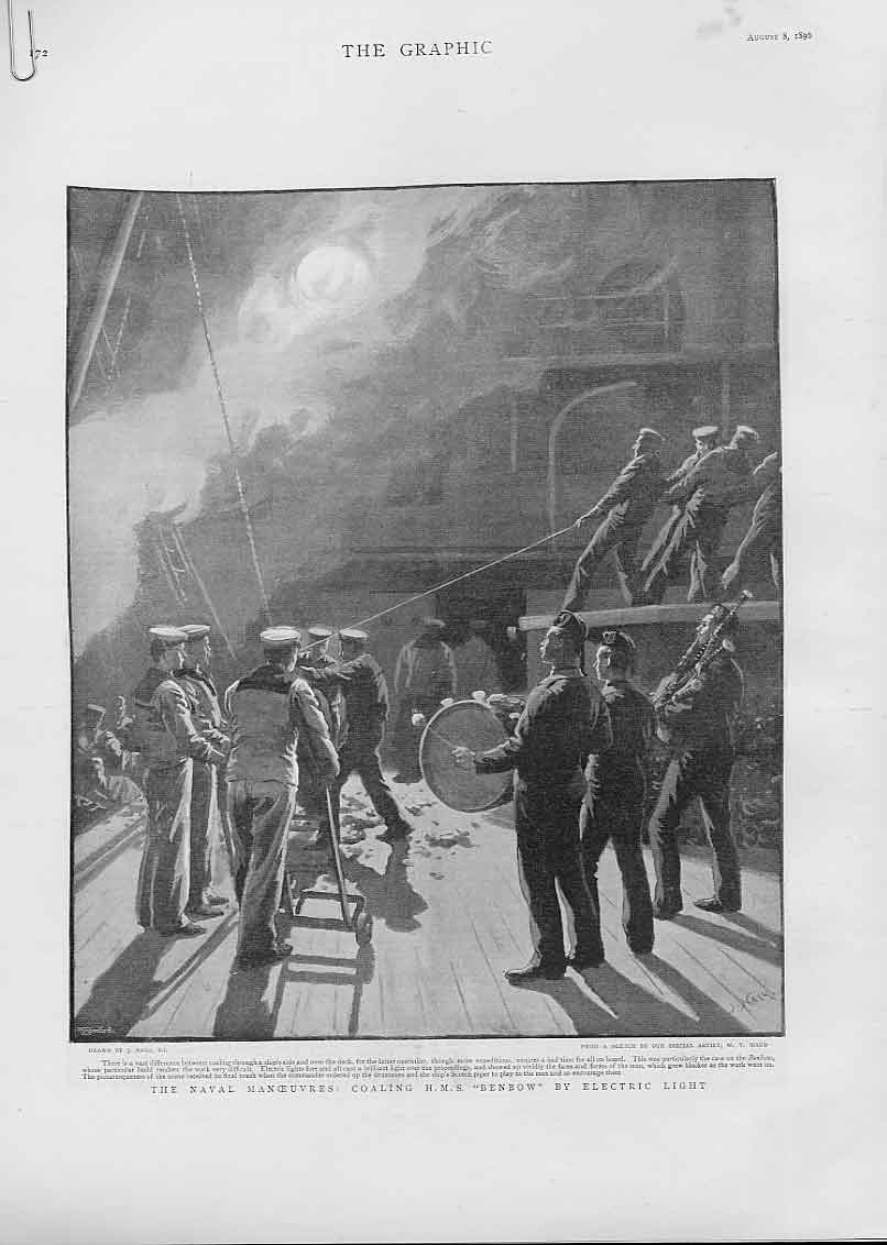 Print Coaling Hms Benbow By Electric Light 18996 Ships 72Abbb1 Old Original