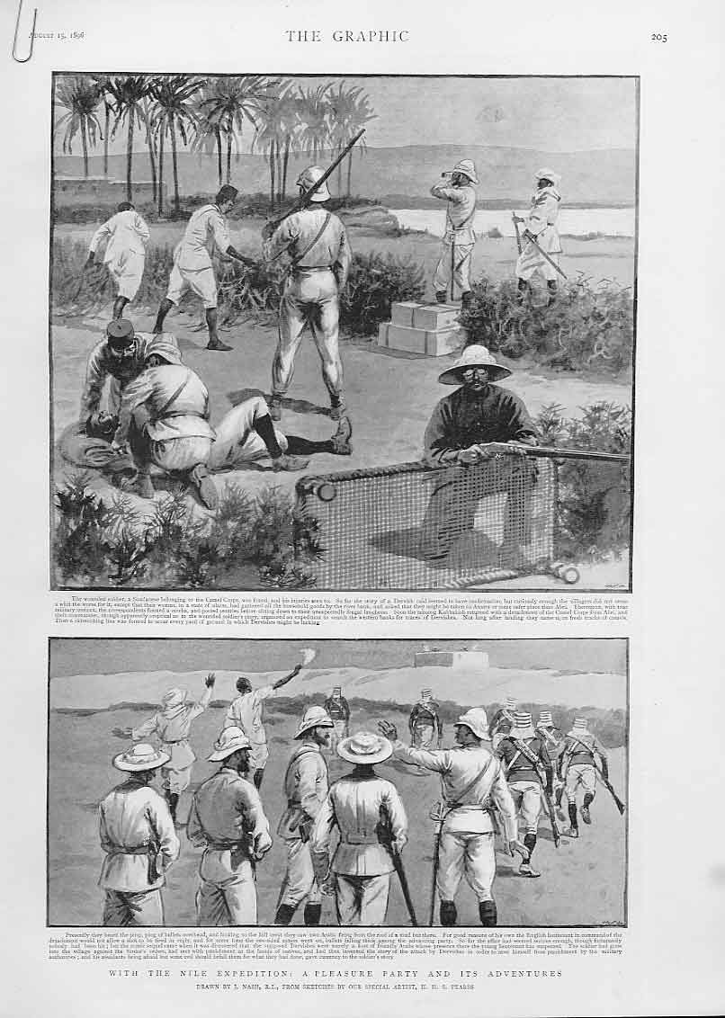 Print Pleasure & Adventure With The Nile Expedition 1896 05Abbb1 Old Original