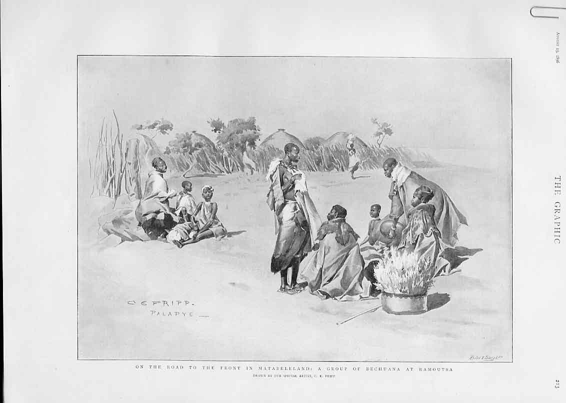 Print Rhodesai A Group Bechuana At Ramoutsa 1896 13Abbb1 Old Original