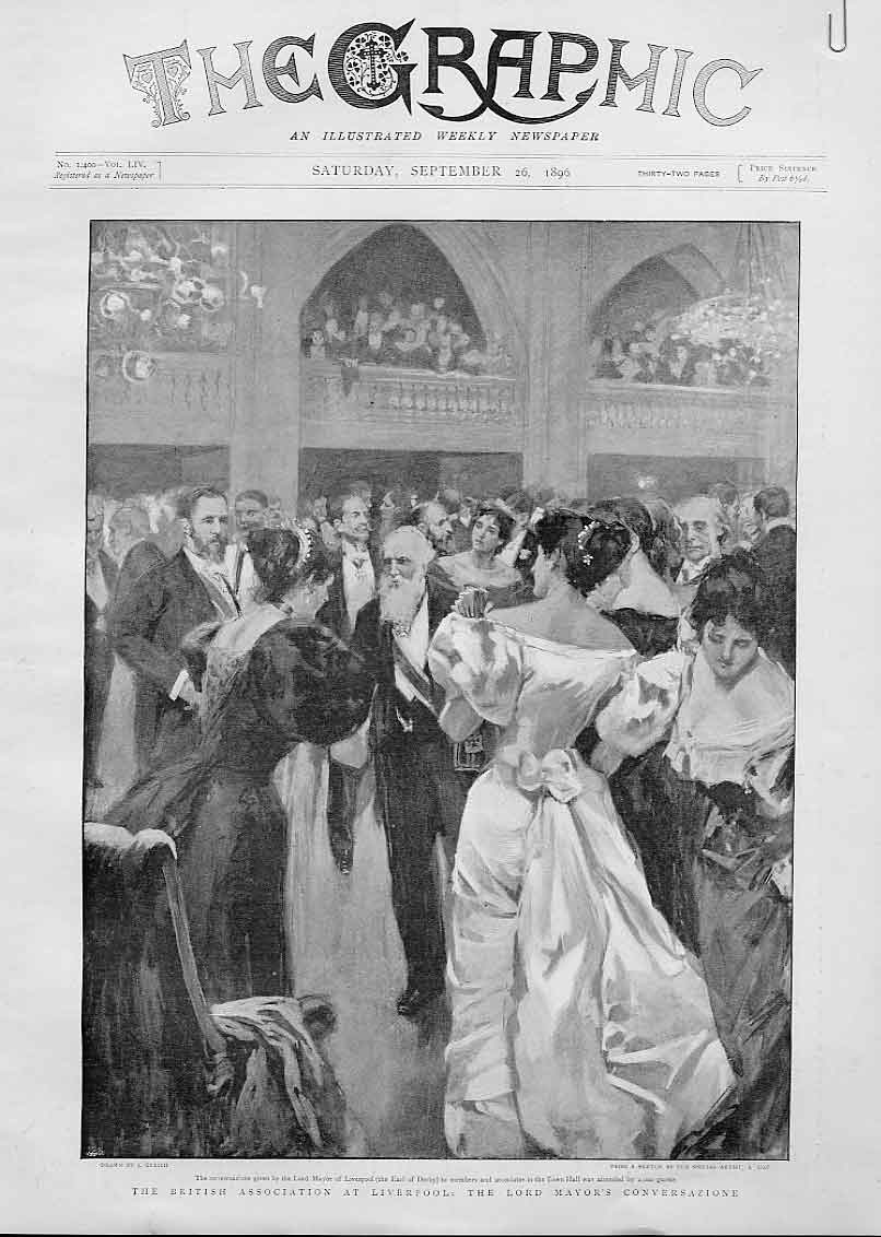 Print Lord Mayors Conversazione Liverpool 1896 88Abbb1 Old Original