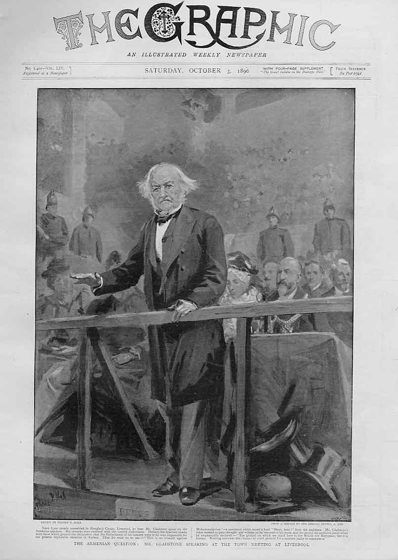 [Print Gladstone Speaking At Liverpool 1896 18Bbb1 Old Original]