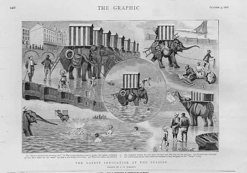 Print Elephantrs Innovation At The Seaside 1896 40Bbb1 Old Original