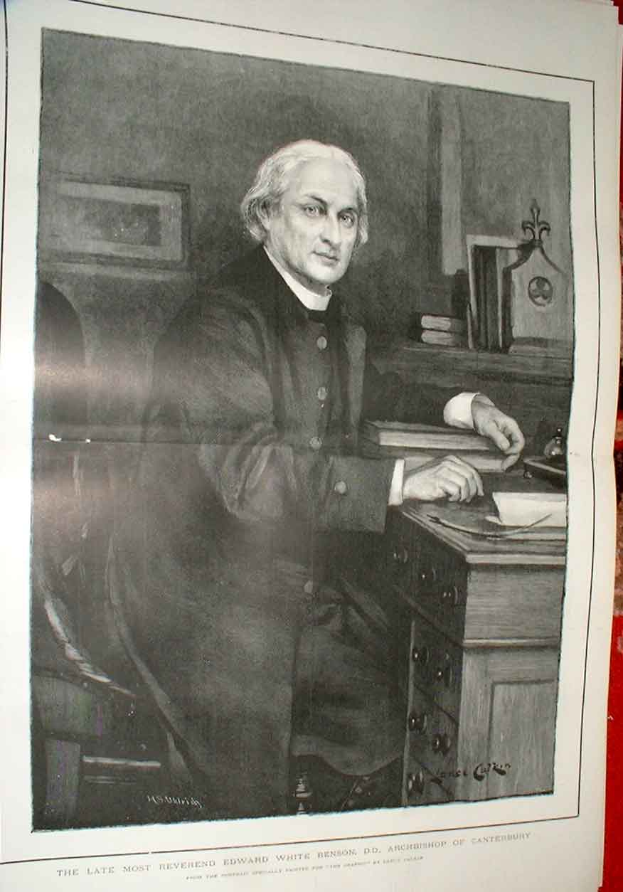 Print Large Portrait Rev E Dward White Benson Archbishop Cant 95Tbbb1 Old Original