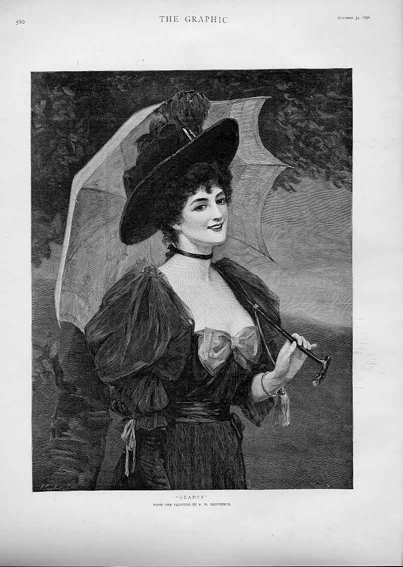 [Print Gladys By Skipworth Fine Art Lady'S Portr 60Bbb1 Old Original]